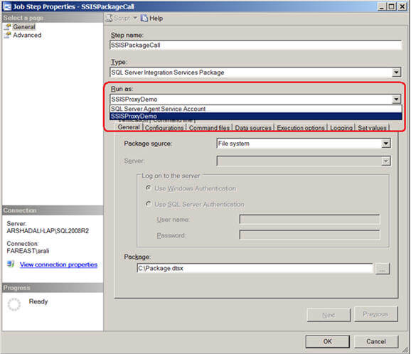 you can change the same job step using SSMS to use the proxy