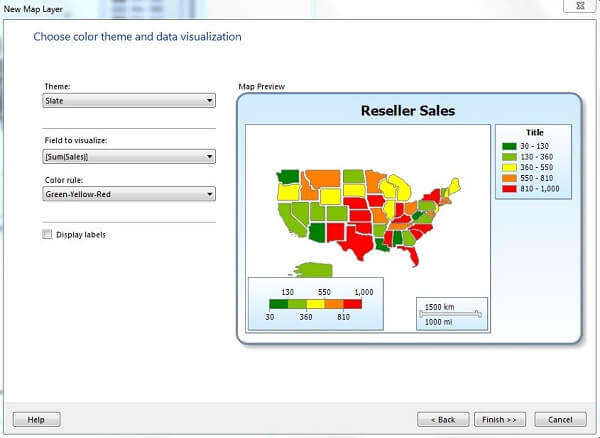 display the Choose color theme and data visualization dialog