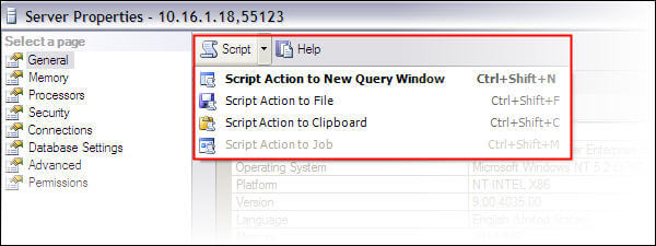 SSMS options to generate script for actions
