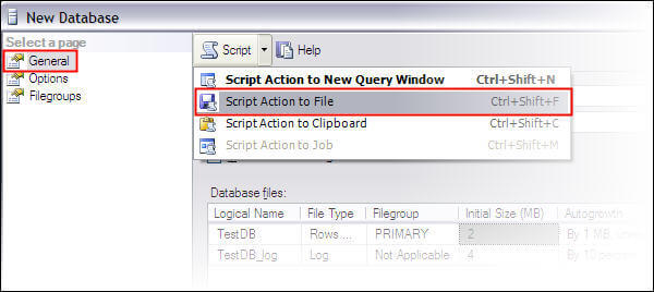 Create a new database through SSMS and save the script for this action in .SQL file