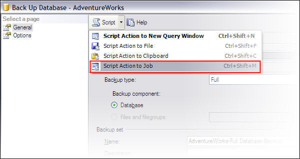 Create database backup through SSMS (non express edition) and directly create a schedule job for this action