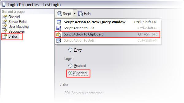 Disable a Login through SSMS and copy the script for this operation to clipboard