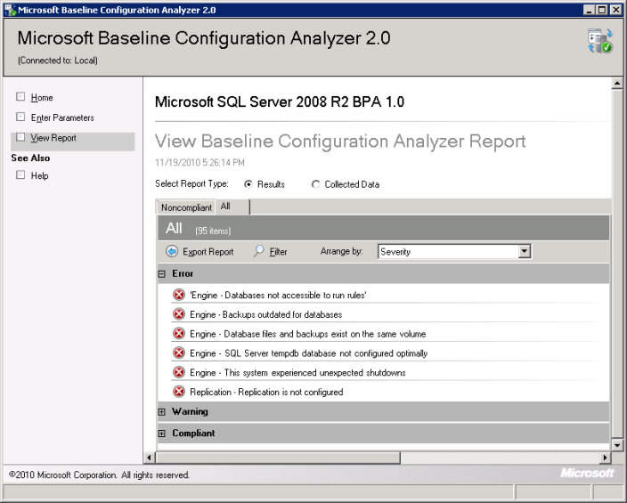 you will be able to see different errors that exists on the SQL Server Instance as per rules configured in Best Practices Analyzer