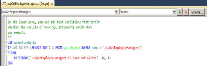 before executing a test case for a stored procedure I want to ensure it exists or raise an exception
