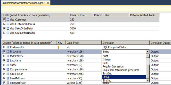 you can change different properties of these data generators associated with each column to define a range or format of data being generated for that column