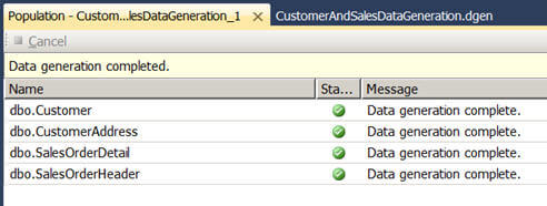 the data generation plan starts generating data for each table selected in the plan and shows the status