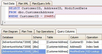 the column is already highlighted, making it easy to see why this operation requires a rid lookup