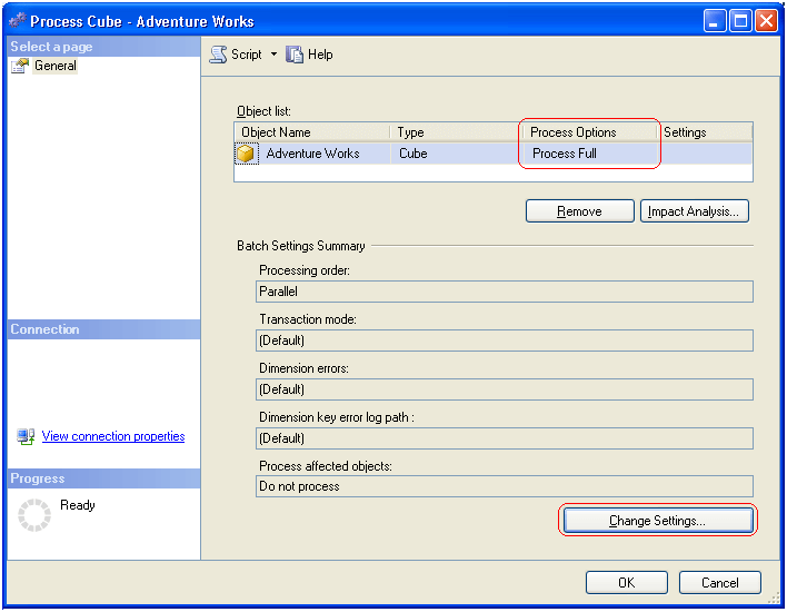 the settings you specify in the Change Settings dialog box will override the default settings inherited from the Analysis Services database for all the objects listed in the Process dialog box