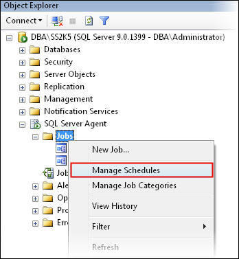 Click on manage schedules in SSMS