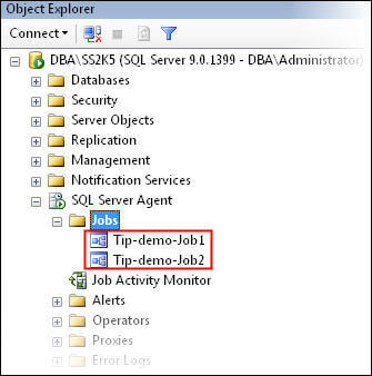 Confirm the jobs created in SSMS