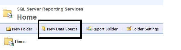 create a new shared data source in Report Manager