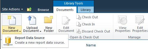 create a new shared data source in a SharePoint library