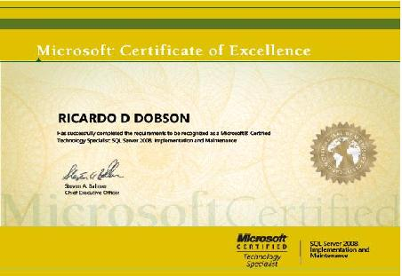 a Microsoft Certified Technical Specialist certification for Microsoft SQL Server 2008, Implementation and Maintenance.