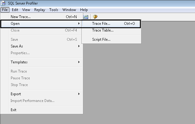 creating a trace template from an existing trace file