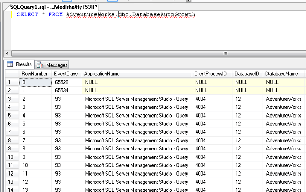 Once the trace is saved in a table, we can query it from SQL Server Management Studio