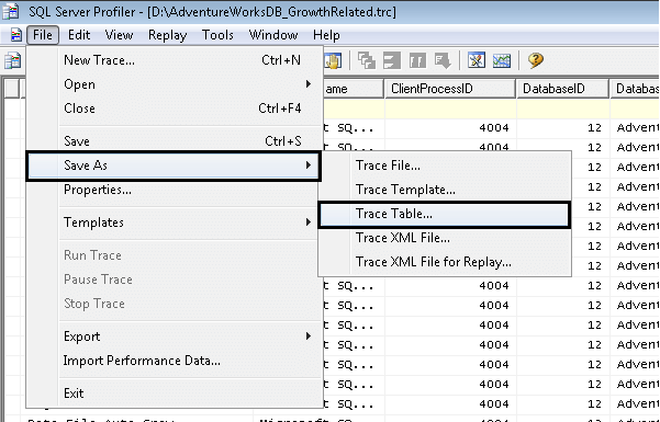 open an existing trace file in sql server profiler