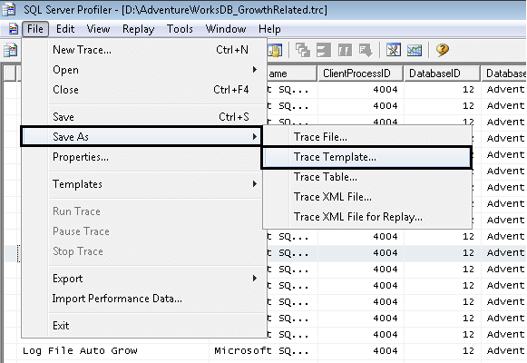 Working with SQL Server Profiler Trace Files