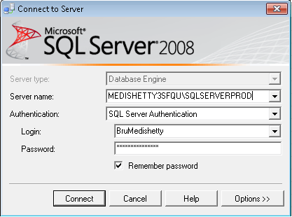connect using sql server authentication