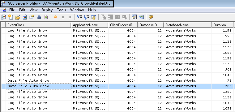 in this example the trace file is based on the database events