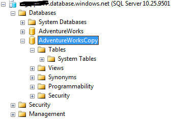 during the copy operation the database is visible in ssms, but is not available for use