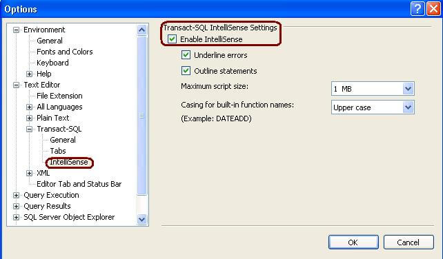 resoloving issues when intellisense in ssms 2008 is not working