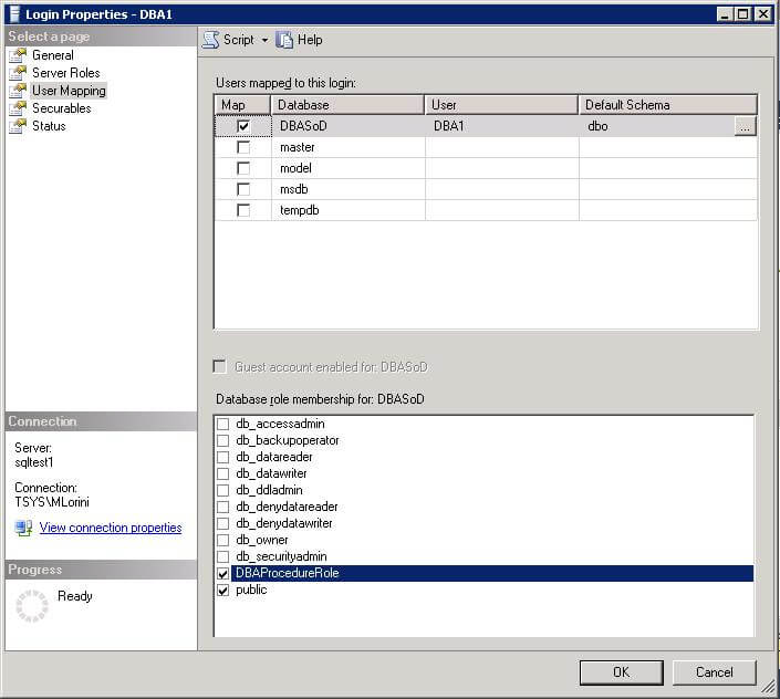 to test, create a sql server user that is not a sysadmin