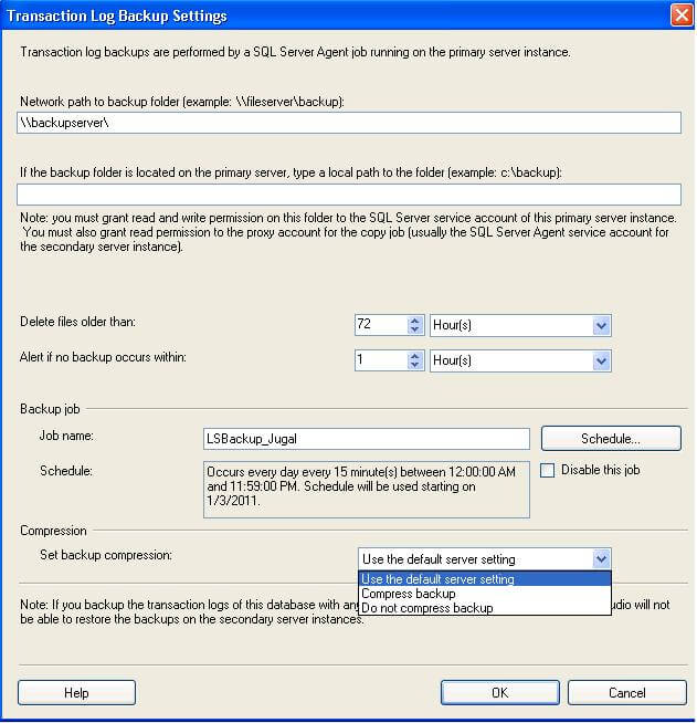 log shipping transaction log backup settings