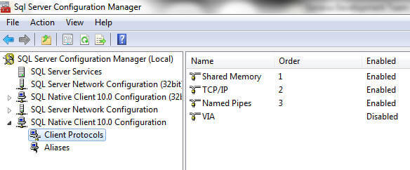 using sql server configuration manager to configure the client net libraries