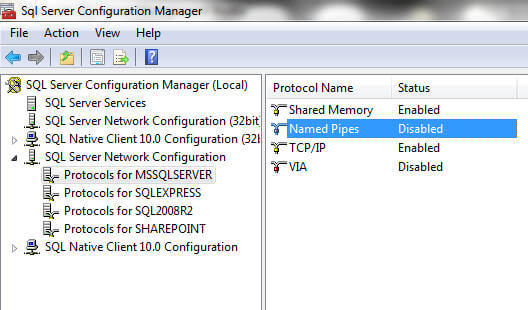 go to sql native client configuration or sql server network configuration (on sql 2008 and r2)
