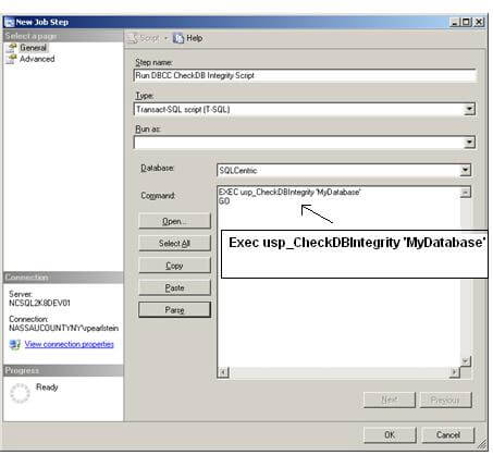 in the command box type exec usp_checkdbintegrity my database
