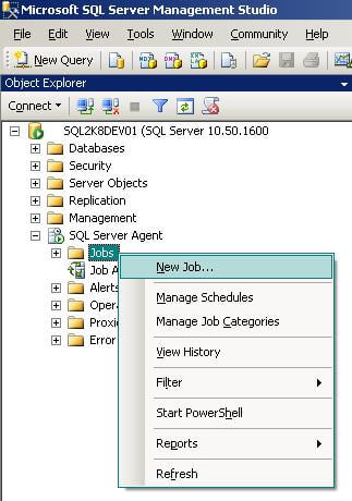 navigate ssms to the jobs tab under sql server agent