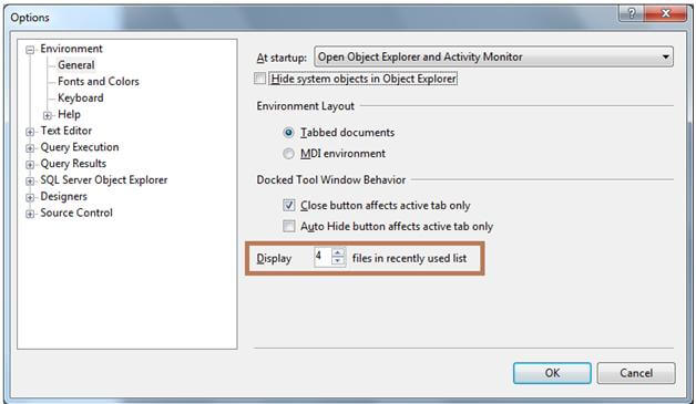 steps to change the recent files number in ssms