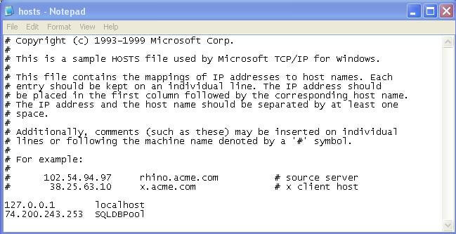 try to connect to the sql server using an ip address