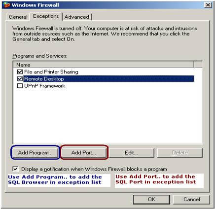 configure the windows firewall for the sql server port and sql browser service