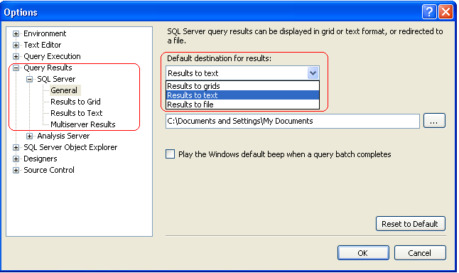 in the options dialog box, expand sql server