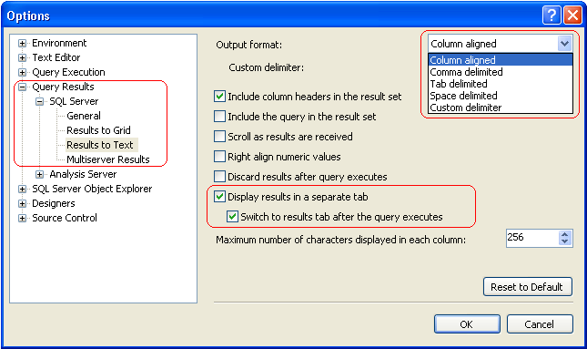 query result options for results to text in ssma