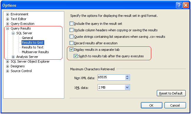 query result options for results to grid in sql server