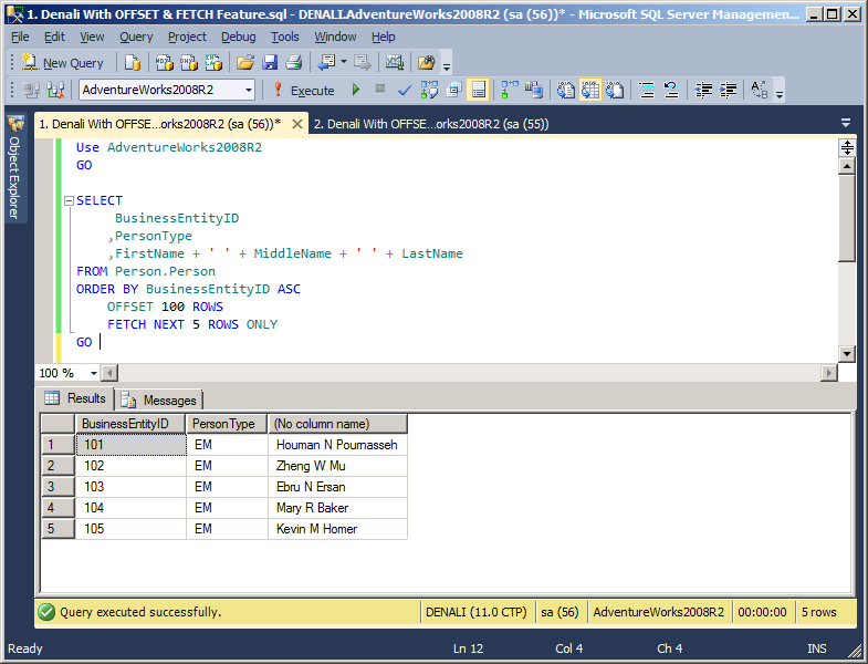 the offset and fetch feature in sql server denali