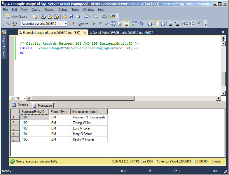 achieve sql server paging using the offset and fetch feature frame of sql server denali