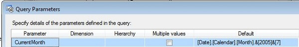 in query designer click the toolbar icon to display the query parameters