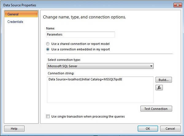 in the report data section of ssas select add data source