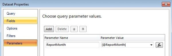 associate the reportmonth parameter with the @reportmonth placeholder in the mdx query