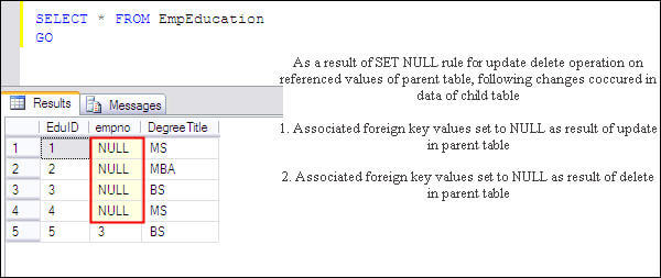 utilize the set null rule