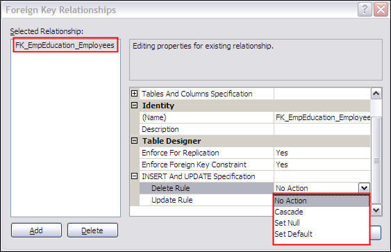 foreign key relationships frame in ssms