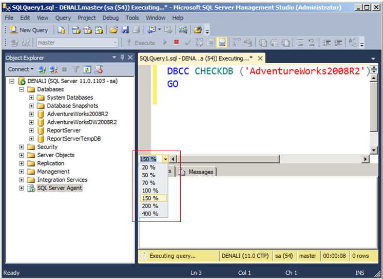 in sql server denali change the display settings in query window and the results pane