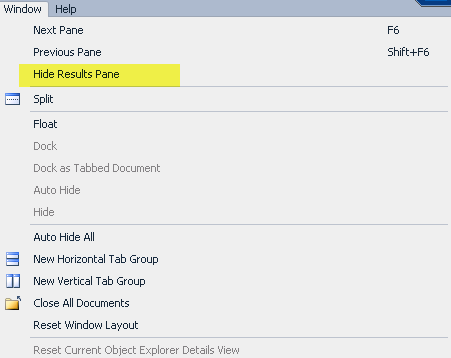 toggle between showing and hiding the results pane when using ssms