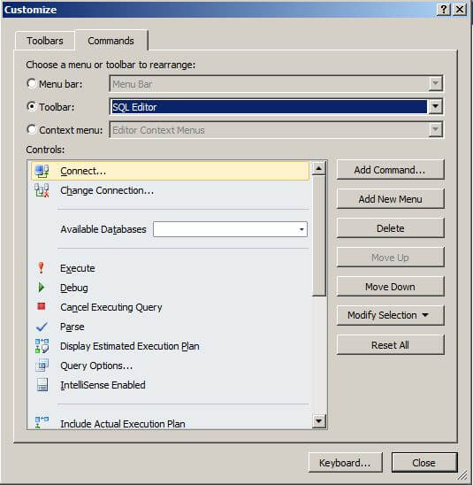 select sql editor in the drop down menu