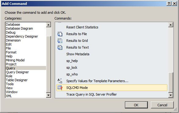select sqlcmd mode and click ok