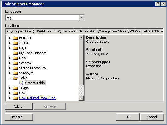 launch the code snippets manager in ssms