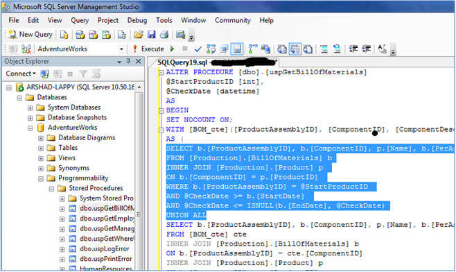 using commenting out code shortcuts in ssms